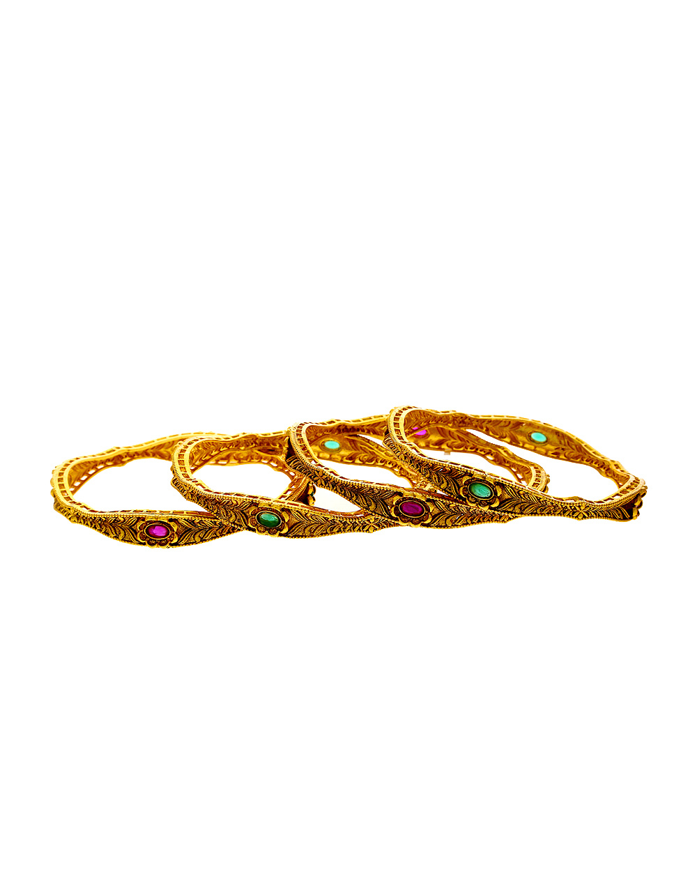 Pink Colour Antique Gold Finish Fancy South Indian Bangles Jewellery