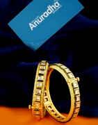 Gold Finish Mina Work Kundan Bangles For Fancy Wear