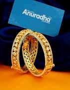 Gold Finish Bangles Studded With Diamond Kundan Bangles