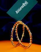 Multi Colour Gold Finish Diamond Bangles For Wedding