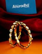 Designer Gold Finish Kundan Bangles For Fancy Wear