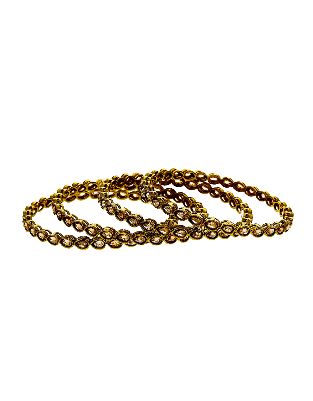 Antique Gold Finish Bangles Studded With Stones Fancy Bangels