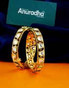 Gold Finish Kundan Bangles For Fancy Wear For Girls