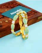 Green Colour Gold Finish American Diamond Fancy Bangles