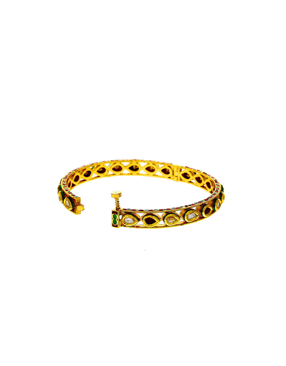 Maroon Colour Gold Finish Kundan Fancy Bangles For Traditional