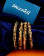 Fancy Pink Colour Gold Finish Multi Colour Kada Bangle Jewellery