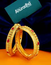 Multi Colour Gold Finish Traditional Kada Bangles For Women