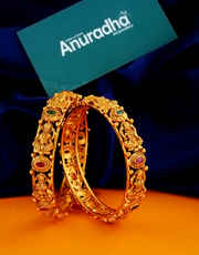 Multi Colour Antique Gold Finish South Indian Bangles Jewellery