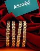 Designer Gold Finish Bangles Studded With Stones Fancy Bangles