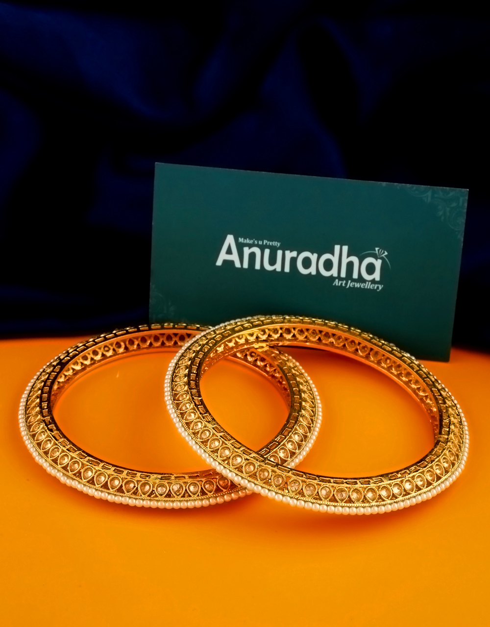 Very Classy Gold Finish Styled With Pearls Beads Stunning Bangles