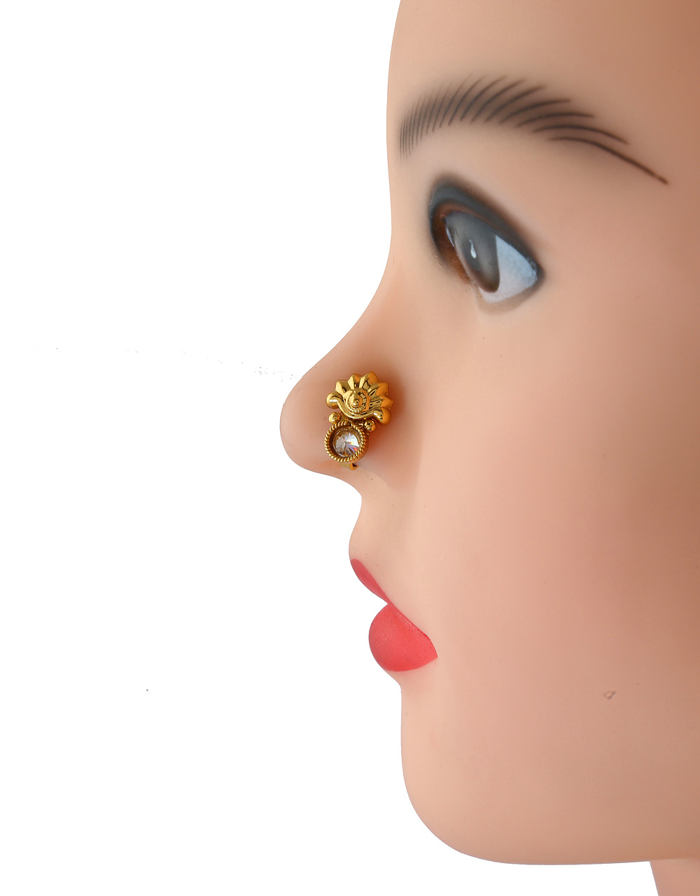 Buy Simple Gold Finish Stunning Nose Stud Fancy For Girls Online