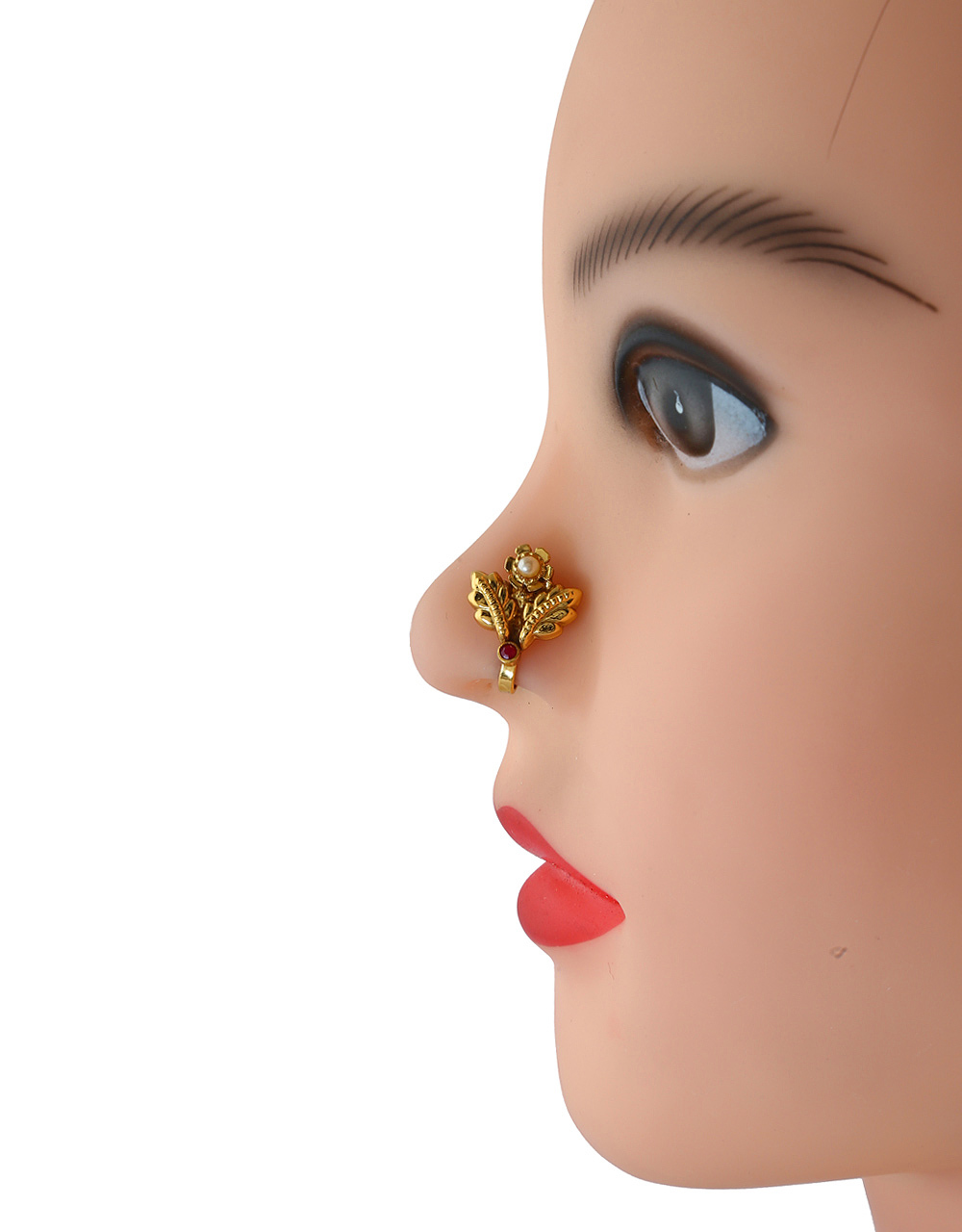 Fancy Simple Red Colour Gold Finish Nose Ring