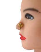Peach Colour Gold Finish Designer Nose Ring