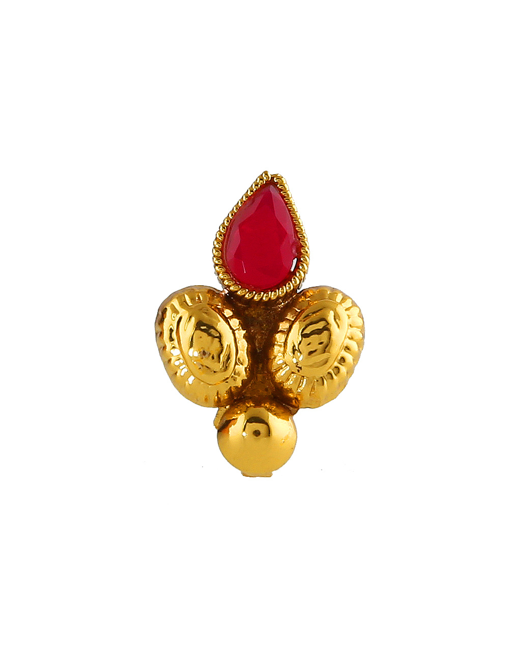 Red Colour Gold Finish Fancy Press On Nose Ring