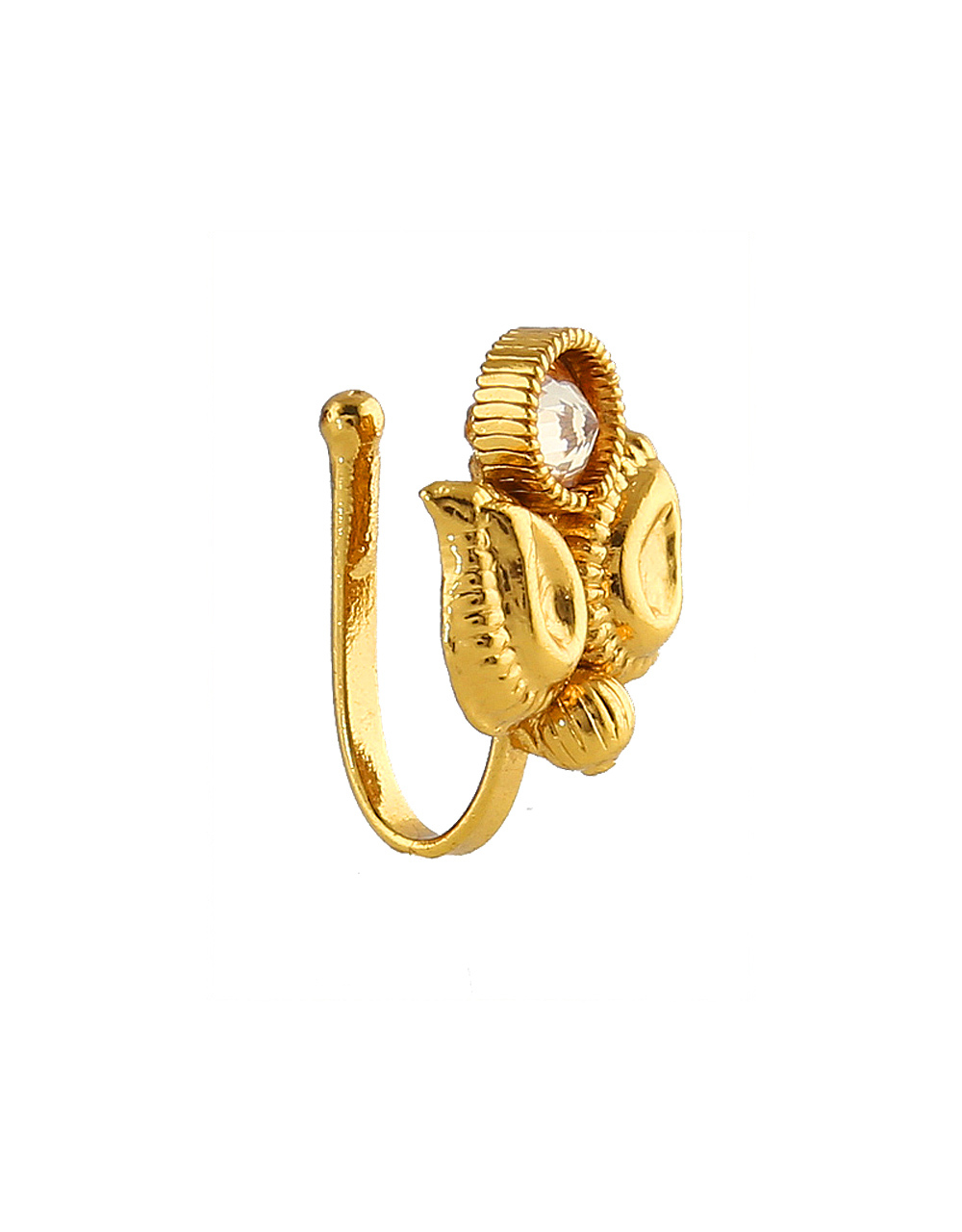 Leafy Designer Gold Finish South Indian Nose Ring Jewellery