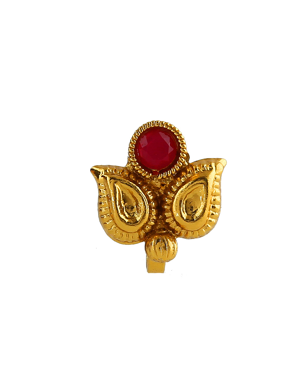 Red Colour Gold Finish Fancy Traditional Dulhan Nath For Girls