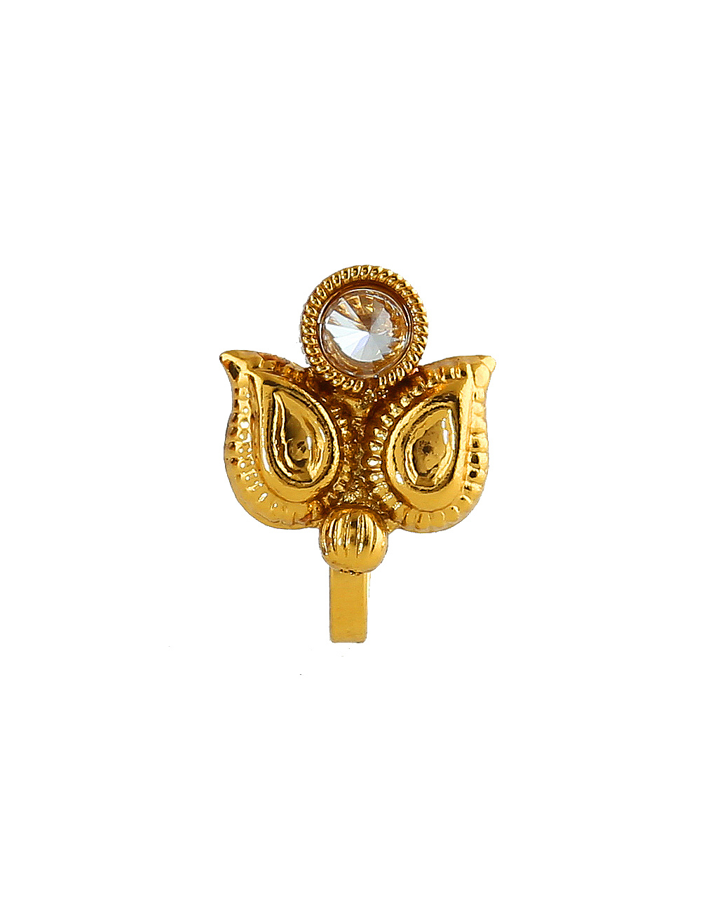Fancy Gold Finish Leafy Design Traditional Nose Ring