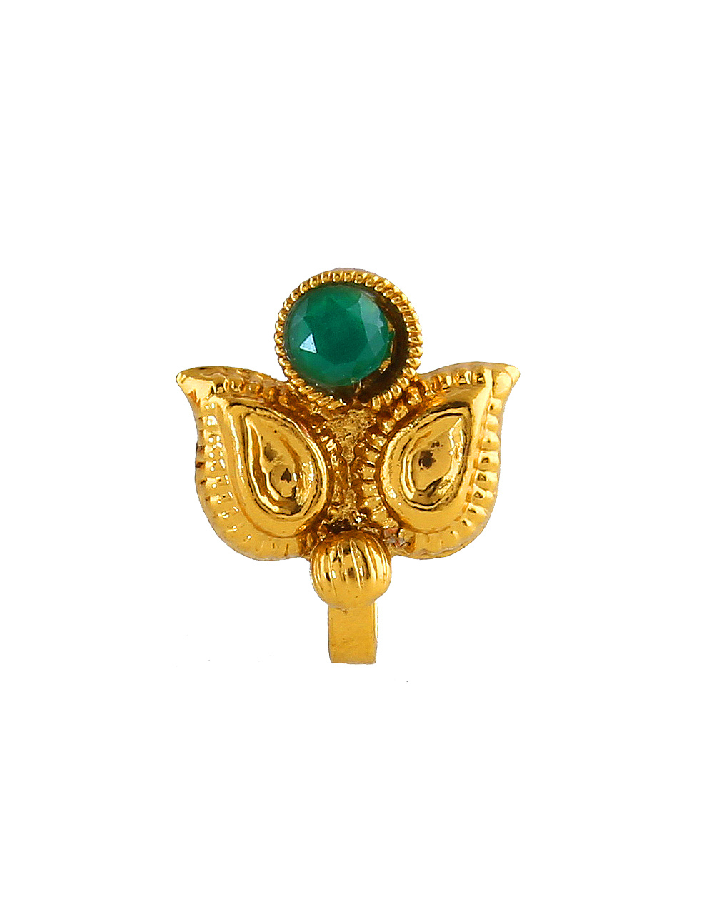 Green Colour Gold Finish Fancy Traditional Nath For Girls