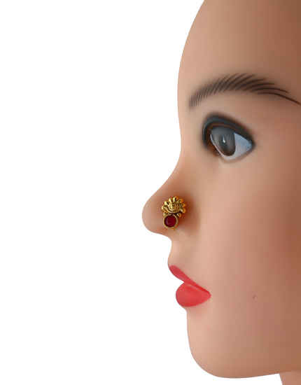 Red Colour Gold Finish Fancy Dulhan Nose Ring For Fancy