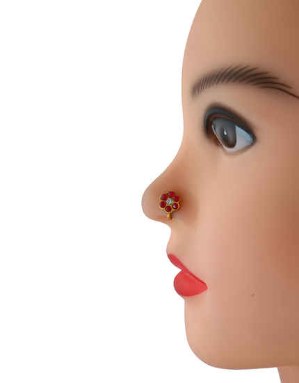 Red Colour Gold Finish Stunning Dulhan Nose Ring Fancy
