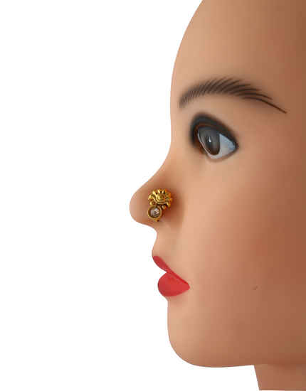 Fancy Gold Finish Peach Colour Dulhan Nose Ring For Girls