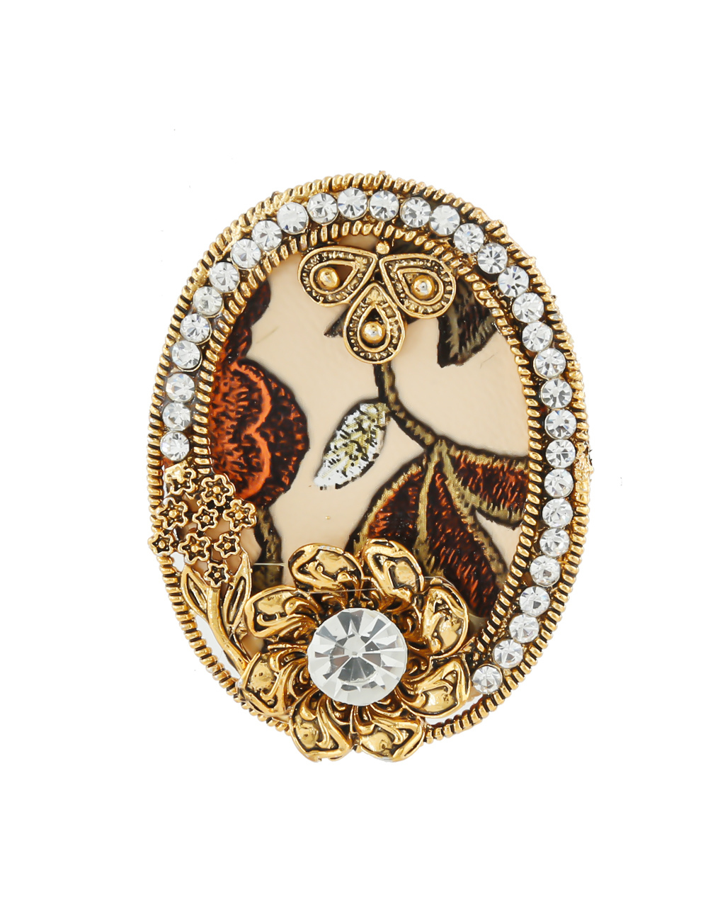 Antique Gold Finish Stunning Wooden Styled Fancy Saree Combo Pin For Girls