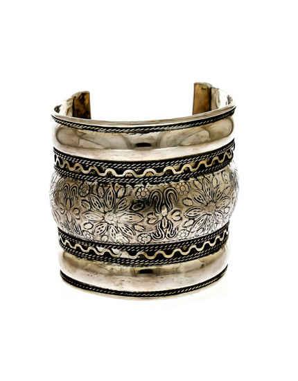 Floral Design Silver Finish Oxidized Navaratri Jewellery Kada Fancy