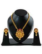 Red Colour Matte Gold Finish Temple Design South Indian Pendant Set