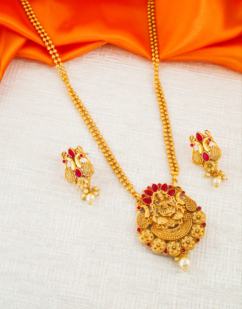 Red Colour Matte Gold Finish Temple Design South Indian Pendant Set