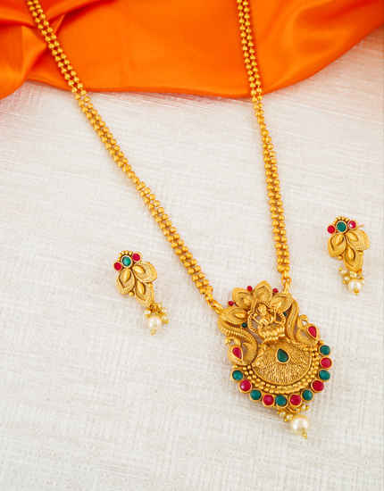Multi Colour South Matte Finish Traditional Pendant Set Jewellery