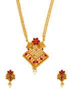 Red Colour Floral Design Matte Gold Finish Fancy Pendant Set For Girls