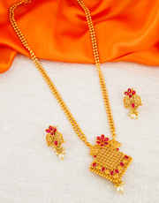 Red Colour Floral Design Matte Gold Finish Fancy Pendant Set For Girls