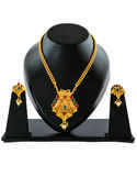 Peacock Design Matte Gold Finish Multi Colour Pendant Set Necklace