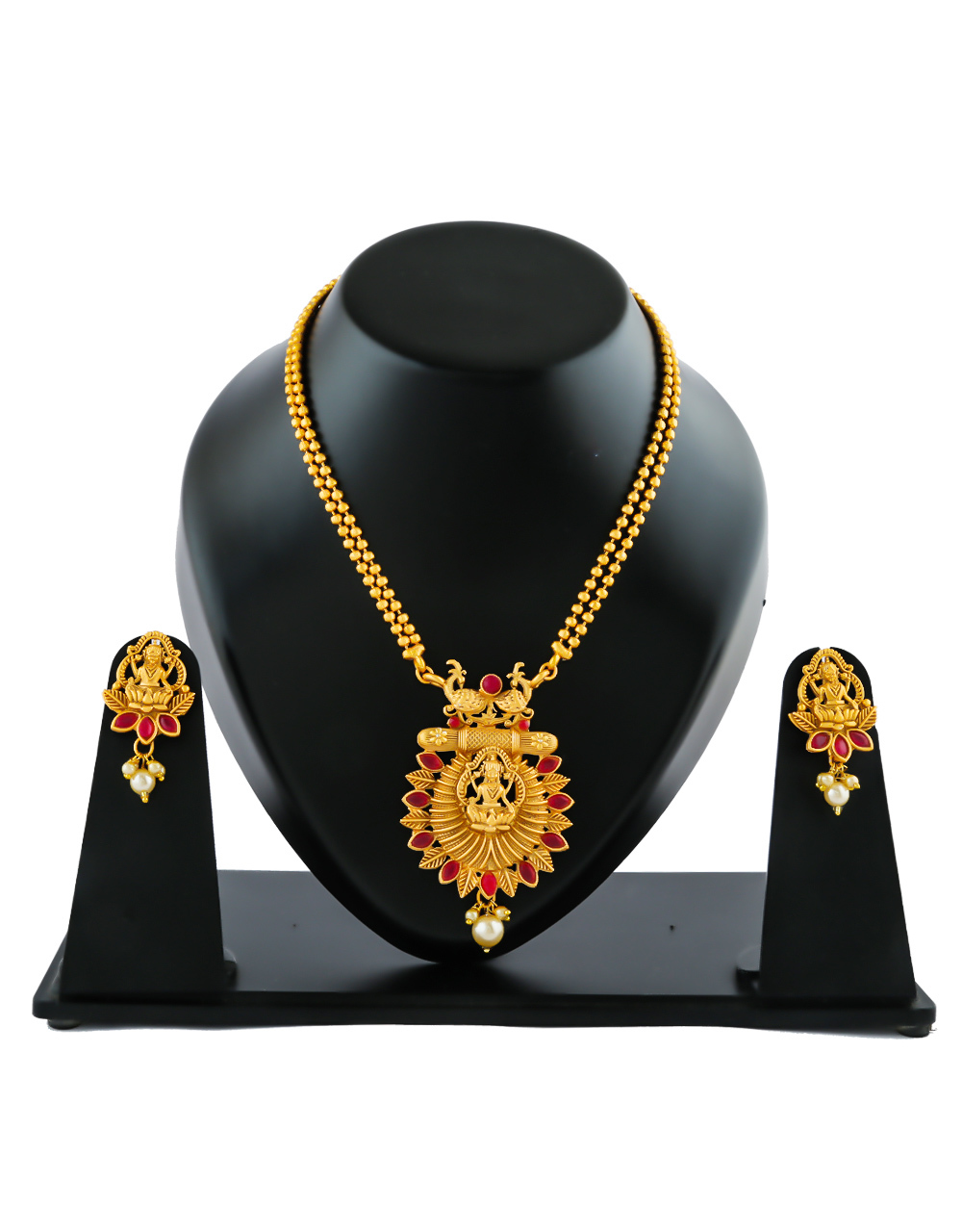 Red Colour Very Classy Gold Finish South Indian Temple Pendant Set Jewellery