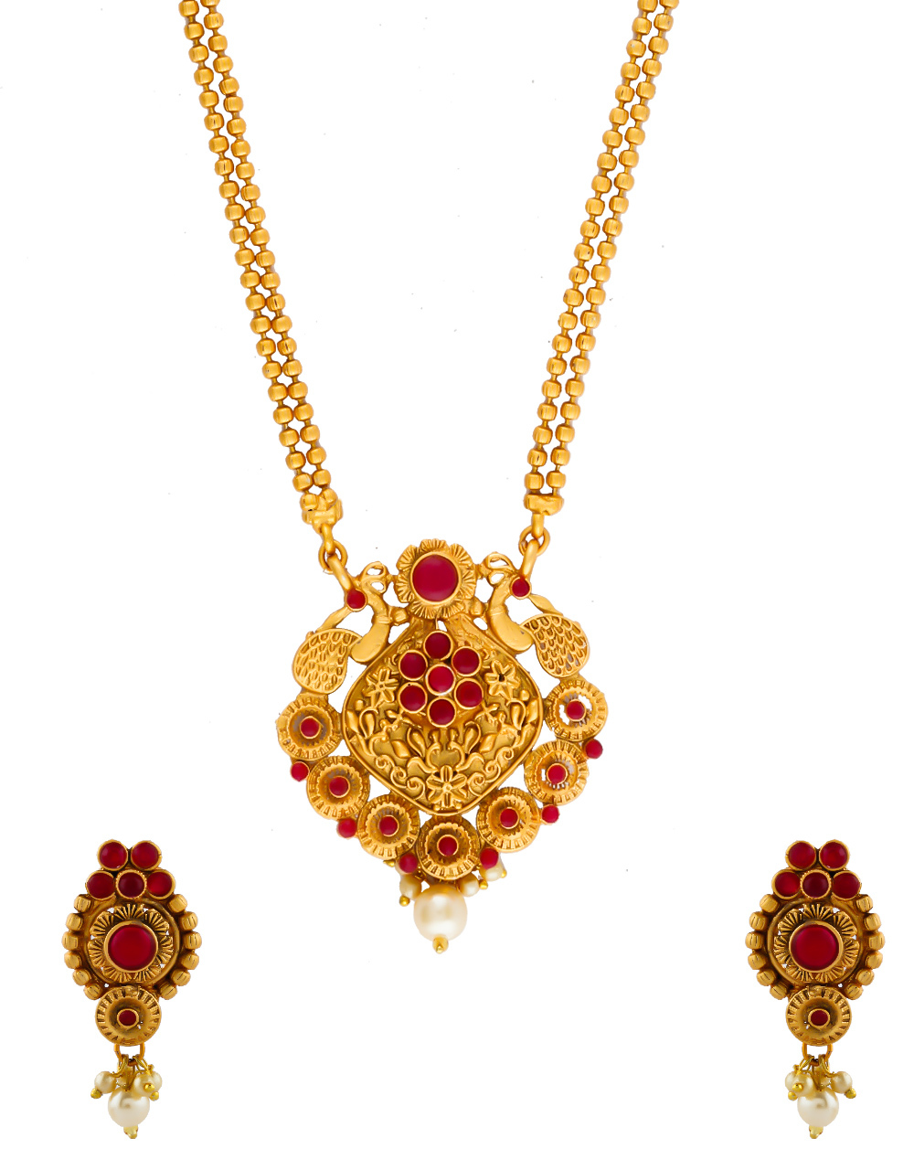 Red Colour South Matte Finish Red Colour Pendnat Set Necklace Jewellery