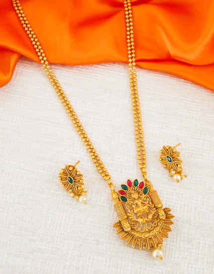Multi Colour Gold Finish Temple Design South Indian Jewellery
