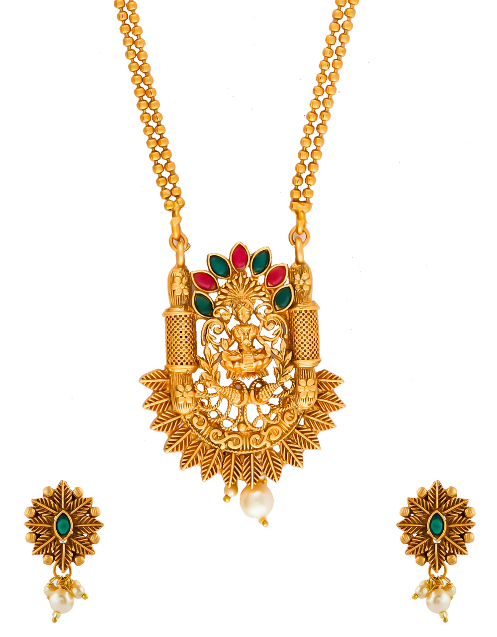 Multi Colour Gold Finish Temple Design South Indian Jewellery