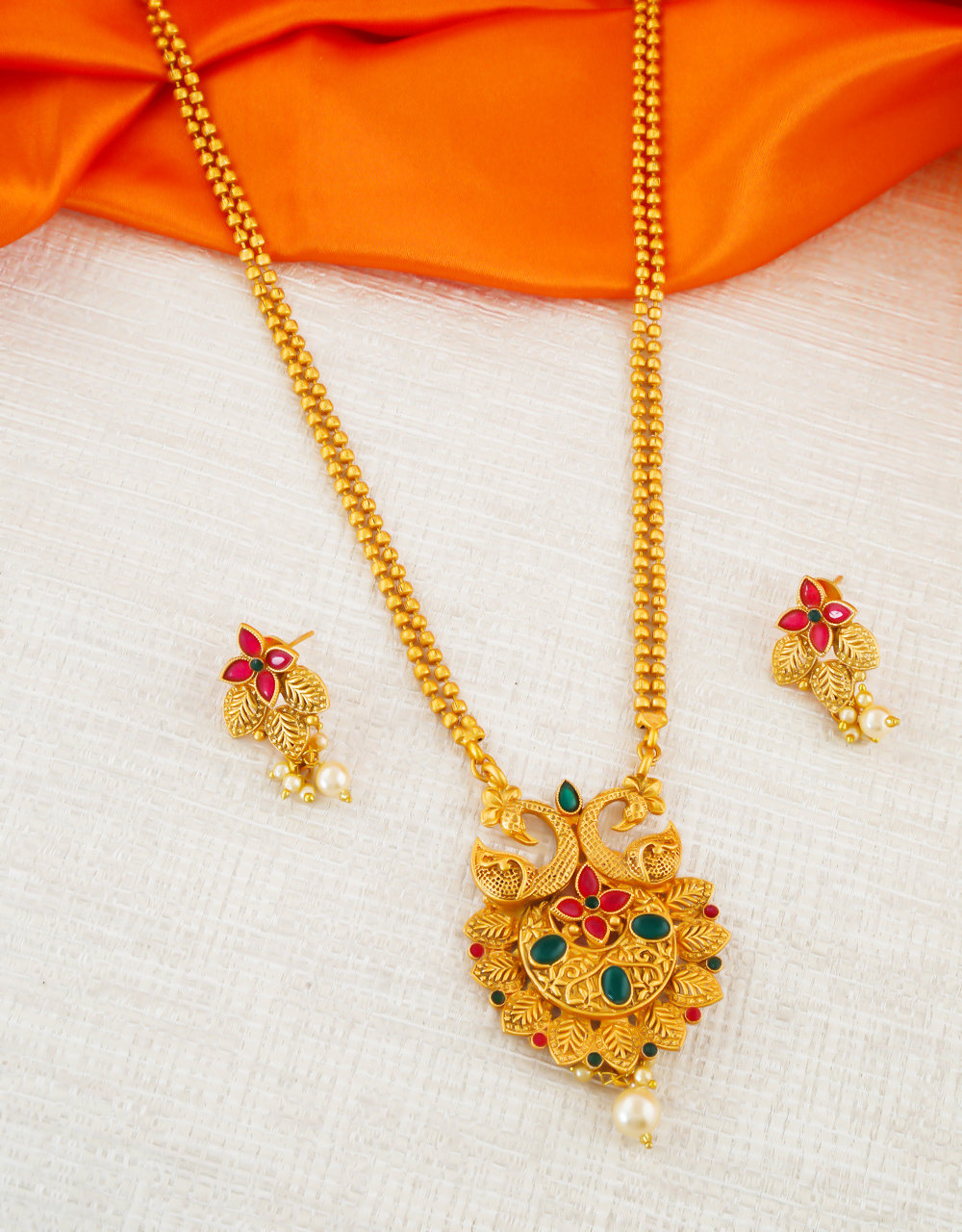 Multi Colour Peacock Design South Matte Finish Traditional Pendant Set