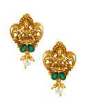 Multi Colour Antique Gold Finish South Indian Temple Pendant Set Jewellery