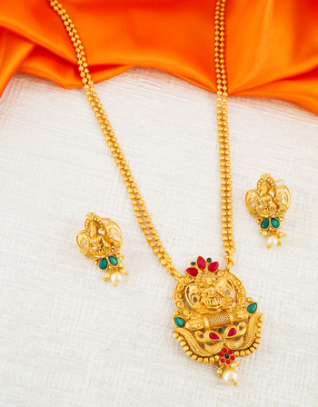 Multi Colour Antique Gold Finish South Indian Temple Pendant Set Jewellery