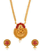 Red Colour Gold Finish Very Classy Stunning Pendant Set Fancy