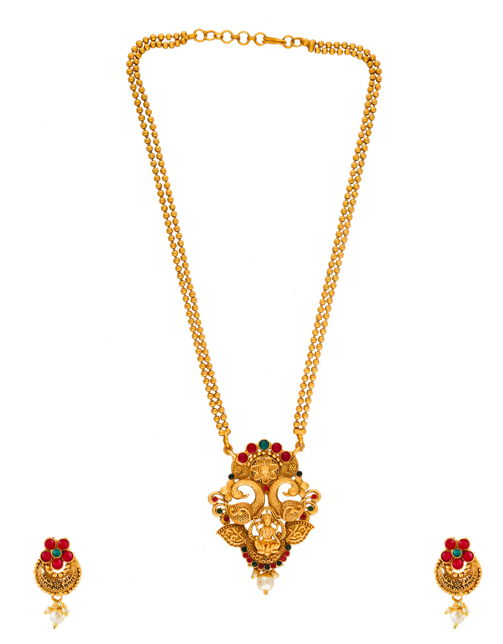 Peacock Design South Matte Finish Traditional Pendant Set For Girls