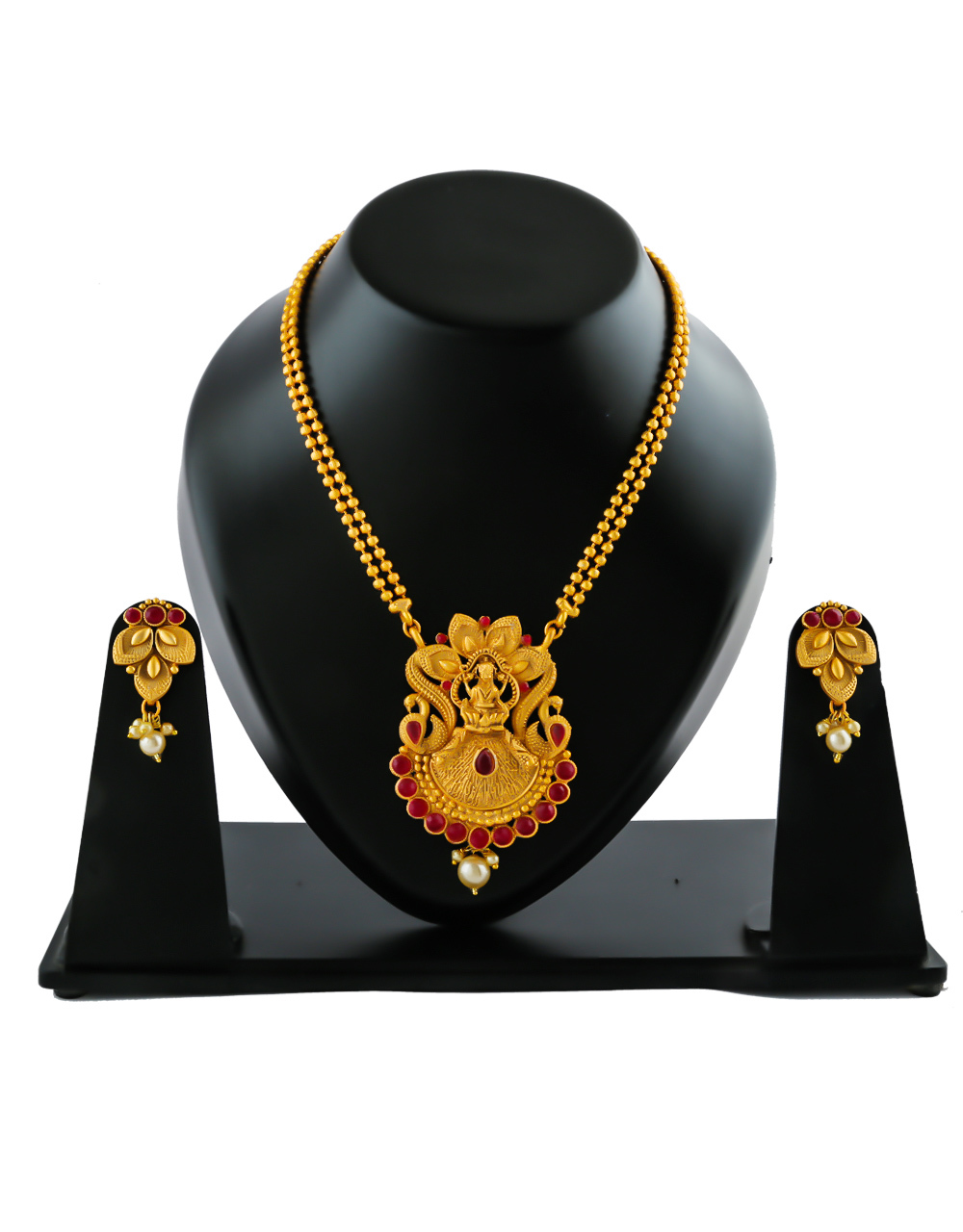 Red Colour Gold Finish Fancy Traditional Pendant Set Jewellery For Girls