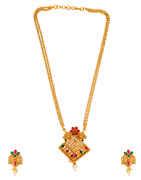 Multi Colour Floral Design Adorable Traditional Pendant Set Fancy