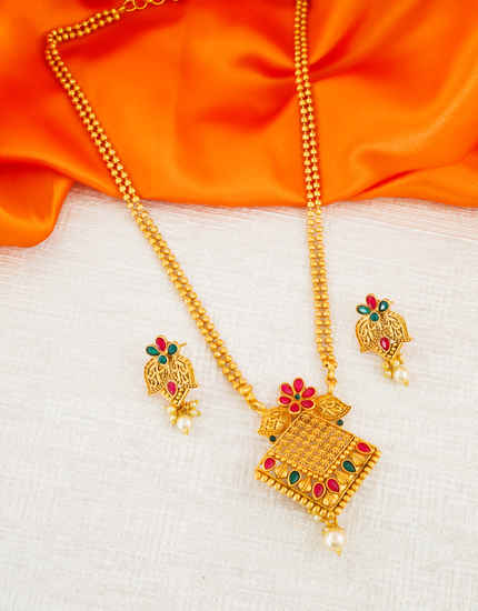 Multi Colour Floral Design Adorable Traditional Pendant Set Fancy