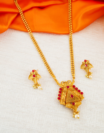 Red Colour Gold Finish Fancy Stunning Traditional Pendant Set For Girls