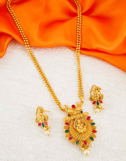 South Matte Finish Multi Colour Temple Design Artificial Pendant Set