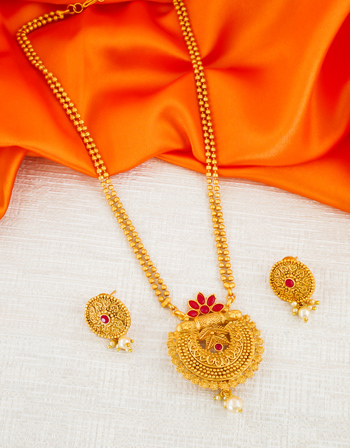 Red Colour Floral Design Traditional Adorable Pendant Set For Girls