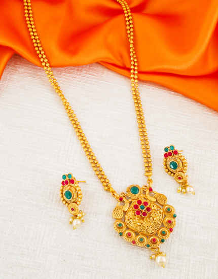 Designer Red-Green Colour Fancy Gold Finish Traditional Pendant Set