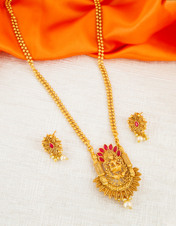 Red Colour Antique Gold Finish Fancy Pendant Set Jewellery For Girls
